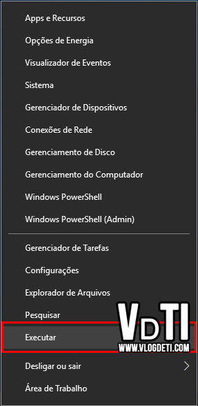 Executar menu iniciar Windows 10